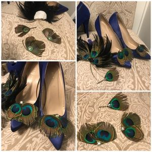 Peacock shoe clips, hair accessories